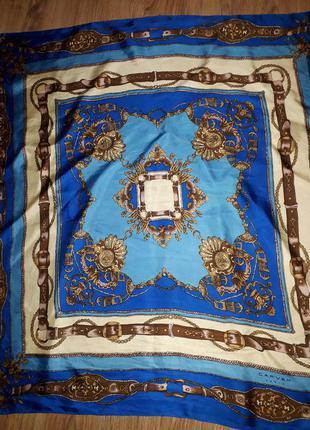 Винтажный  шелковый платок carven paris  принт збруя