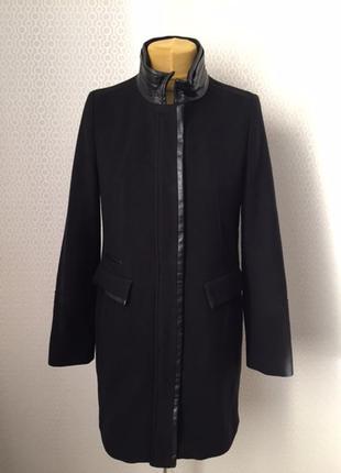 Пальто с кожаными вставками в стиле кежьюал, бренд bianca, раз...