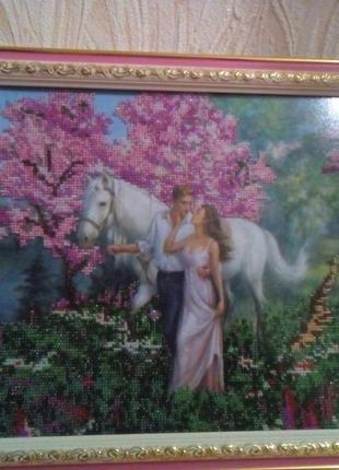 """Картина вышитая бисером """"Любовь"""""""