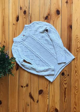 Вязанный акриловый белый свитер atm