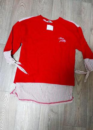 Новая кофта свитер с рубашкой обманка реглан