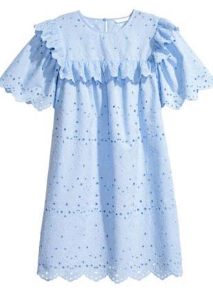 Летнее хлопковое кружевное платье h&m из прошвы. свободный крой