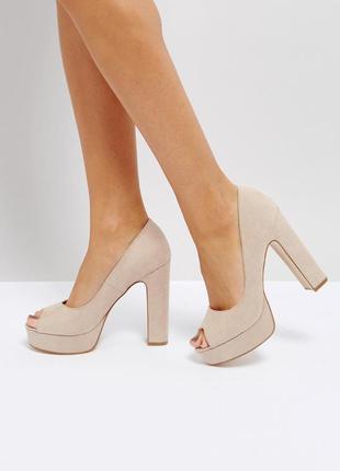 Туфли с открытым носком на платформе и каблуке асос asos truff...