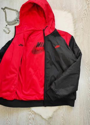 Двухсторонняя мужская короткая зимняя куртка пуховик спортивны...