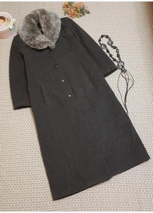 Ультрамодное длинное пальто womans wardrobe/шерсть/ с мехом