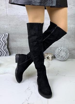 Замшевые сапоги ботфорты на низком каблуке,демисезонные чёрные...