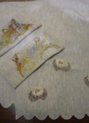 Шерстяной шарф/платок с нарукавниками