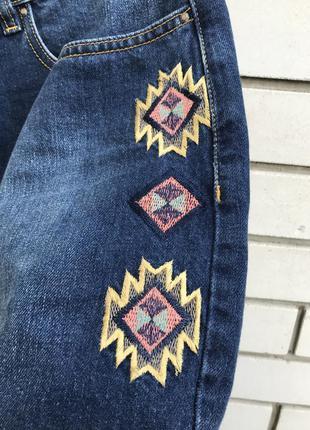 Джинс мини-юбка с вышивкой по бокам,этно,бохо стиль,хлопок100%...