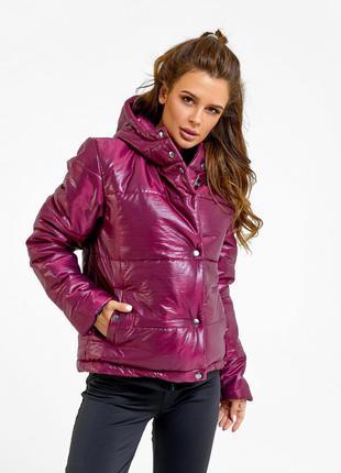 Бордовая стеганая куртка на синтепоне
