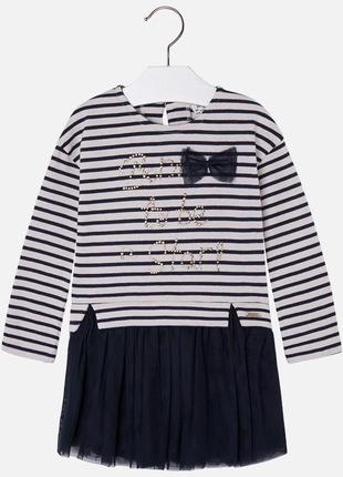 Платье длинный рукав с фатиновой юбкой на осень
