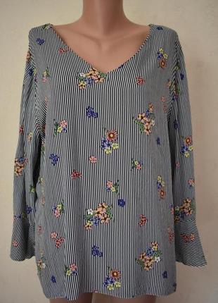 Красивая натуральная блуза с принтом большого размера papaya