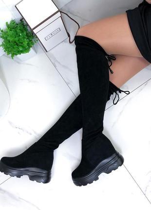 ❤ женские черные весенние демисезонные высокие сапоги ботфорты...