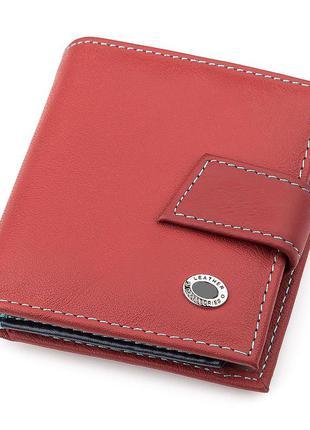 Кошелек компактный бордовый кожаный портмоне женское натуральн...