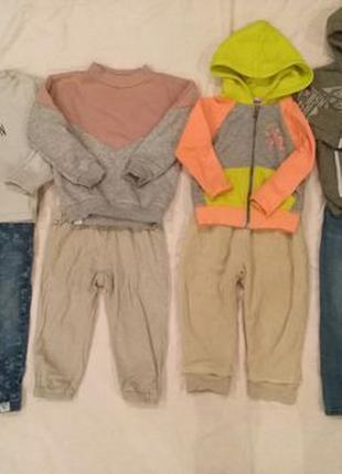 Пакет теплых вещей 86-92 джинсы кофты