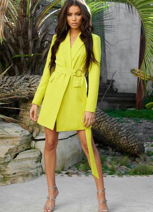 Лаймовое платье пиджак на запах с длинным рукавом asos, платье...