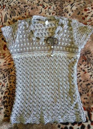 Модная вязаная ажурная футболка 42-44 размер серо-бежевая как ...