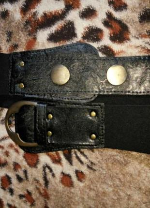 Пояс ремень черный резинка с пряжкой новый модный