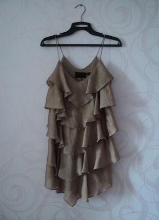 Коктейльное мини-платье с оборками, сарафан-елочка, платье на ...
