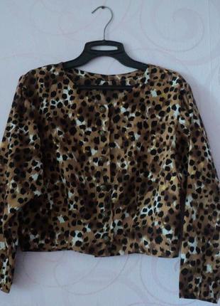 Винтажная рубашка, леопардовый принт, короткая рубашка с принт...