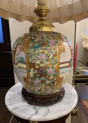 Лампа настольная керамическая антикварная из Бельгии в китайском