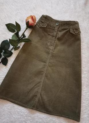 Вельветовая юбка трапеция миди хаки размер 36-38   h&m