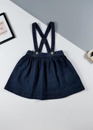 Джинсовая юбка на лямках next на 2-3 года, рост 98см