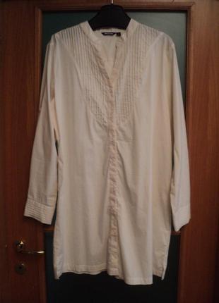 Молочное платье-рубашка для офиса, платье на 1 сентября, плать...