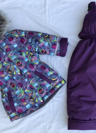 Зимний комбинезон костюм для девочки, термо с биркми и лейбами 98