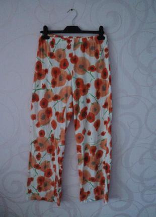 Домашние штаны с маками, пижамные брюки, штаны для дома, цвето...