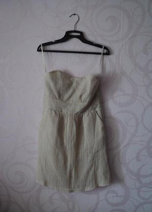 Бежевое платье-бандо, коктейльное платье-бюстье, платье без бр...
