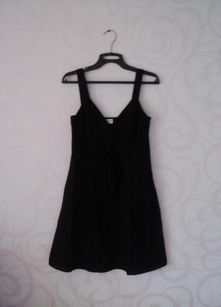 Черный сарафан на лето, лен, короткое платье из льна, легкое п...