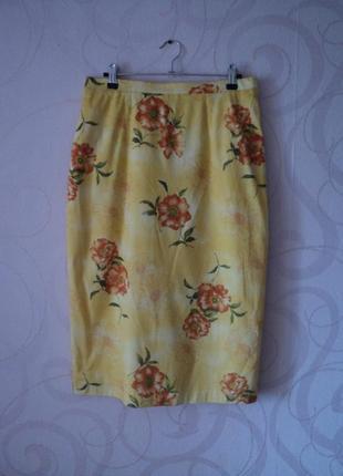Желтая юбка с цветочным принтом, винтаж, ретро, юбка средней д...