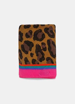 Огромный плиссированный шарф палантин в леопардовый принт от z...