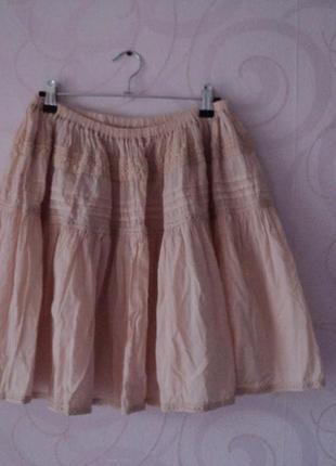Пудровая юбка, коттон, короткая юбка в кантри-стиле, юбка-разл...