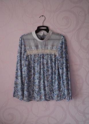 Голубая блуза с принтом, рубашка с воротником-стойкой на 1 сен...