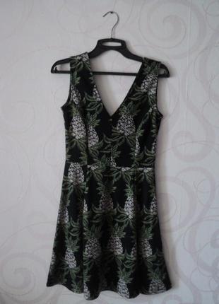 Платье с принтом ананас, платье на каждый день, платье а силуэ...