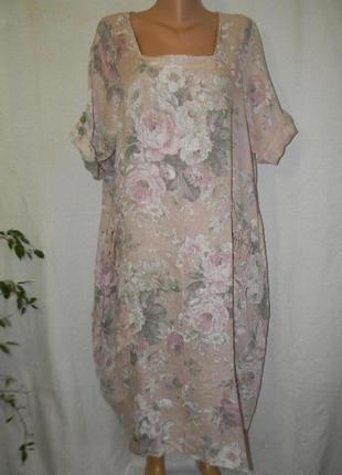 Новое платье лен италия с нежным принтом