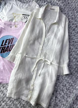 Длинная льняная рубашка more&more