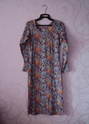 Индийская туника с цветами, туника на пляж, пляжное платье цве...