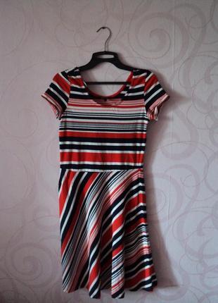 Платье в полоску, короткое платье на лето, трикотажное платье-...