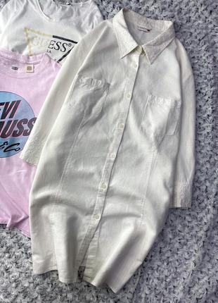 Длинная льняная рубашка со вставками шитья nkd