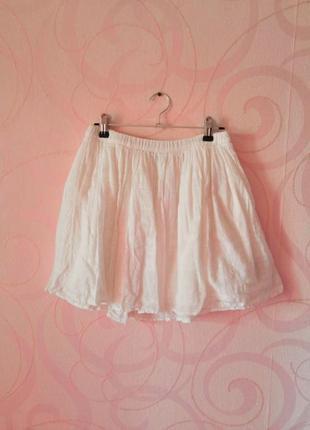 Белая короткая юбка, мини-юбка, легкая юбка-разлетайка на лето...