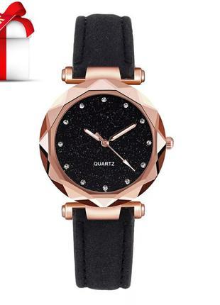 Стильные женские черные часы ➕ подарок женский браслет