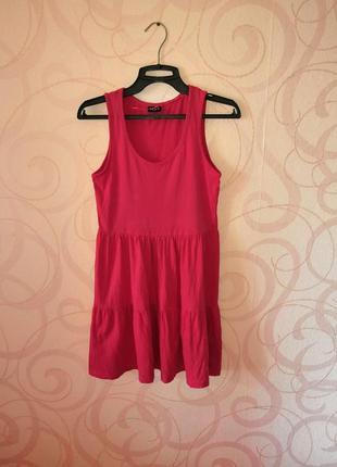 Розовое короткое платье, мягкое мини-платье коттон, спортивное...