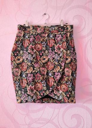 Мини-юбка на запах, юбка с запахом, цветочный принт, юбка в шк...