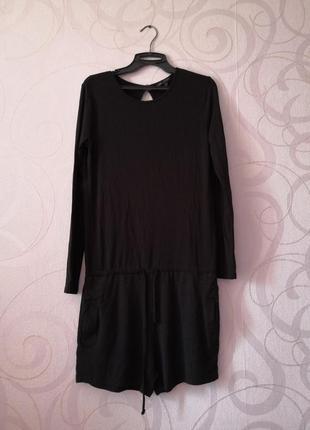 Черный комбинезон с шортами, трикотаж, ромпер, короткий женски...