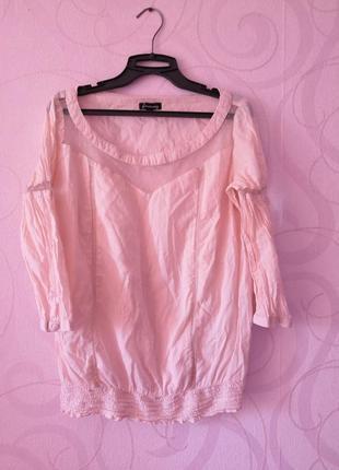 Пудровый топ, лонгслив, свободный топ на осень, блуза в школу,...
