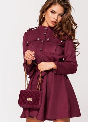 Платье замшевое воротник-стойка расклешенное стильное марсала