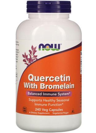 Now Foods, Кверцетин с бромелаином, 240 растительных капсул Ха...