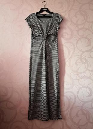 Длинное платье в полоску, платье-макси с принтом, платье с выр...